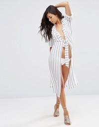 Пляжное платье-рубашка макси с поясом ASOS - Полоски