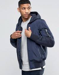 Темно-синяя куртка-пилот с капюшоном и карманом MA1 ASOS - Темно-синий