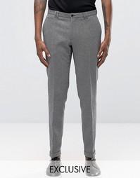 Черно-белые фактурные суперзауженные брюки с отворотами Noak - Черный