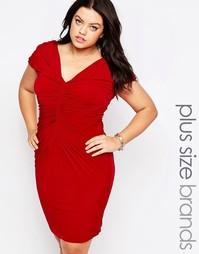 Платье с драпировкой Goddiva Plus - Красный