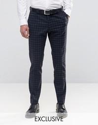 Суперзауженные брюки в решетчатую клетку Noak - Темно-синий