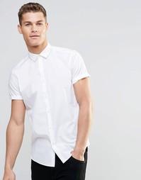 Белая рубашка в строгом стиле с короткими рукавами ASOS - Белый