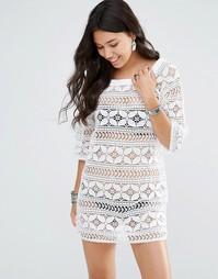 Ажурное платье мини Gypsy 05 - Аджарская слоновая кость