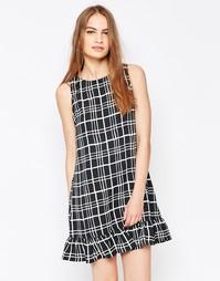 Платье с решетчатым принтом и оборкой по низу Daisy Street