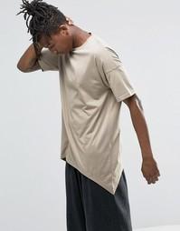 Oversize-футболка бежевого цвета с асимметричным подолом ASOS