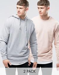 Набор из худи и свитшота (серый меланж/розовый) ASOS - СКИДКА 15%