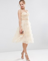 Платье миди для выпускного из органзы с 3D‑цветами ASOS SALON