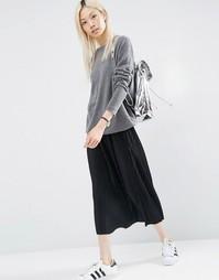 Плиссированная трикотажная юбка миди ASOS - Черный