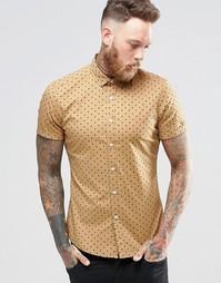 Бежевая облегающая рубашка в горошек с короткими рукавами ASOS - Кэмел