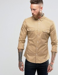 Облегающая рубашка в стиле милитари из стираной саржи ASOS - Stone