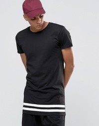 Удлиненная футболка с полосками по низу Selected Homme - Черный