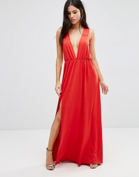 Платье макси с глубоким V‑образным вырезом Pixie & Diamond - Красный