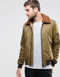 Куртка-пилот цвета хаки с воротником борг ASOS - Хаки