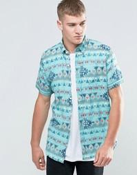 Рубашка узкого кроя с короткими рукавами и принтом Hollister - Мульти