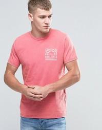 Красная футболка классического кроя с принтом Hollister - Розовое вино