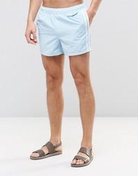 Короткие голубые шорты для плавания с полосками по бокам ASOS - Синий