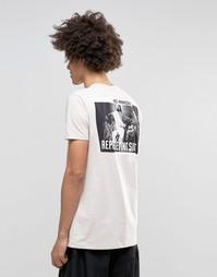Длинная футболка с принтом сзади ASOS - Stone