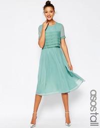 Платье миди для выпускного с кружевным кроп‑топом ASOS TALL SALON