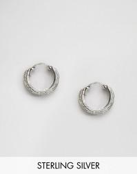 Серебряные серьги‑кольца с гравировкой Kingsley Ryan - Серебряный