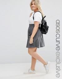 Короткая расклешенная юбка с присборенным поясом и карманами ASOS CURV