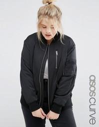 Куртка-пилот c молниями ASOS CURVE - Черный
