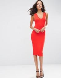 Облегающее платье миди с глубоким V-образным вырезом ASOS - Bright red