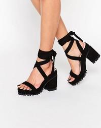 Босоножки на каблуке со шнуровкой ASOS TRIXY - Черный