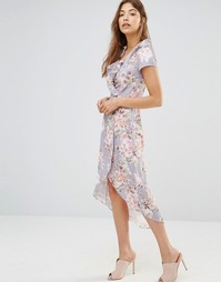 Асимметричное платье с запахом и оборками Oh My Love - Winter meadows