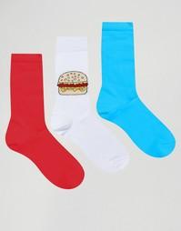 3 пары носков с гамбургерами ASOS - Мульти
