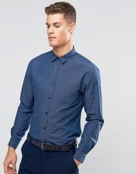 Узкая рубашка добби Silver Eight - Синий