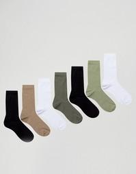 Набор из 7 пар носков цвета хаки ASOS - Мульти