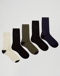 5 пар носков с черными носком и пяткой ASOS - Мульти