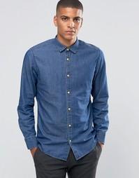 Джинсовая рубашка с деревянными пуговицами Esprit - Темно-выбеленный