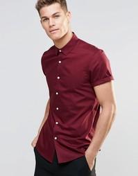 Бордовая классическая оксфордская рубашка с короткими рукавами ASOS