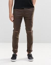 Хлопковые брюки скинни цвета хаки с рваными коленками ASOS
