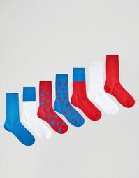 7 пар носков с принтом молний ASOS