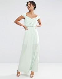 Платье макси с широким вырезом и отделкой на талии ASOS - Мятный