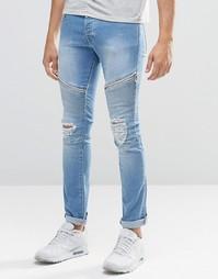 Окрашенные спреем голубые байкерские джинсы Loyalty & Faith - Синий