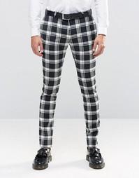 Эластичные супероблегающие брюки в монохромную клетку Noose & Monkey