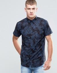 Рубашка с короткими рукавами и принтом Jack & Jones - Черно-синий