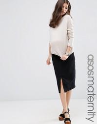 Черная джинсовая юбка‑карандаш для беременных ASOS Maternity