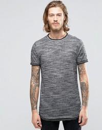 Длинная облегающая футболка в рубчик с асимметричным краем ASOS