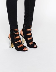 Сандалии на высоком каблуке с пряжками Truffle Collection - Black mf