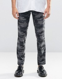 Серые зауженные брюки в строгом стиле с камуфляжным принтом ASOS