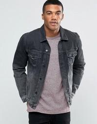 Черная джинсовая куртка слим ASOS - Черный