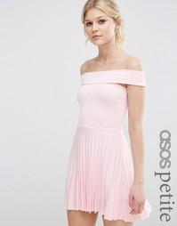 Плиссированное платье миди с открытыми плечами ASOS PETITE - Телесный