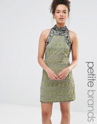 Цельнокройное платье с высокой горловиной и отделкой Maya Petite