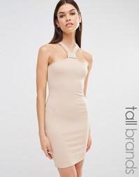 Облегающее платье в рубчик с отделкой у горловины Missguided Tall
