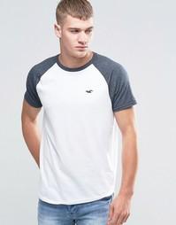 Белая футболка слим с контрастными рукавами реглан Hollister - Белый