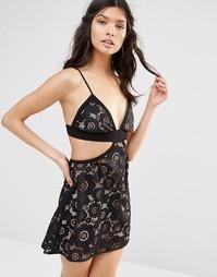 Кружевное платье с бретельками For Love and Lemons Sonya - Черный
